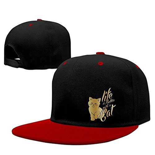 3ee0855ef8ea2 Life Is Etter With A Cat Hip Hop Baseball Caps Comfortable Flat Bill Plain Snapback  Hats