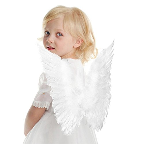 Rurah White Butterfly Style Costume Feather Angel Wings For Children's White Color -