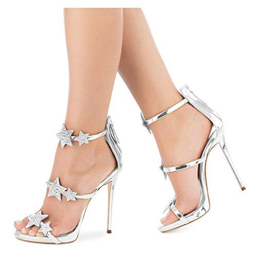 de Estrellas de con de par Agua un Tacones Zapatos nuevos Perforación Verano ZHANGYUSEN con Altos Negro Mujer 2018 Sandalias de Zapatos ZPUq54zw