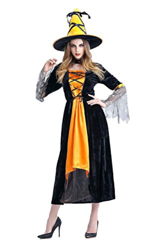 Outtop Halloween Party Props Costume Cosplay Witch Long Dress + Hat for Women (Free Size, Yellow)