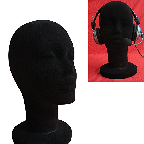 JonerytimeFemale Styrofoam Foam Flocking Head Model Wig Glasses Display Stand Black -