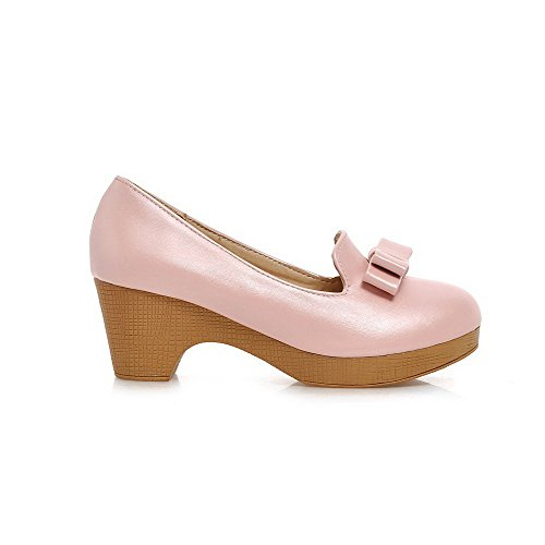 Allhqfashion Dames Pu Solide Aantrek Ronde Gesloten Teen Kitten-hakken Pumps-schoenen Roze