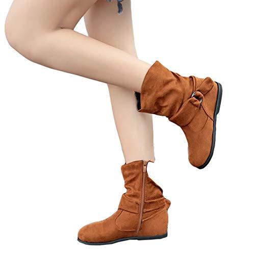 Retro Cabeza Caballero Sólido Botas Planas Mujer Elegante Martin Redonda Cremallera Botas Botas de Invierno Color Botas Moda Botas de Otoño Marrón Plataforma Botines Zapatos wp4xU55
