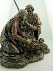 T-Trove Cold Cast Bronze The Nativity of Baby Jesus Mary and Joseph Statue Figurine