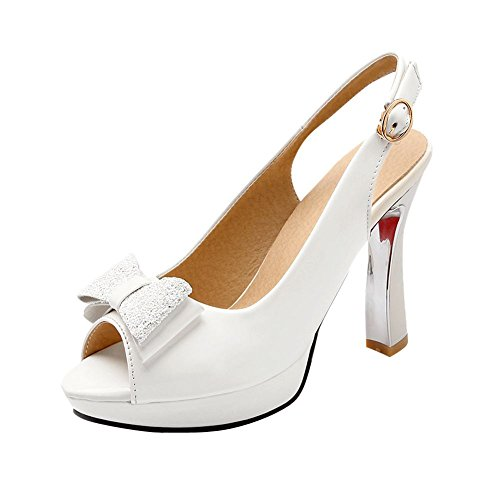 Peep Heel High Bow White Slingback Women's Shoes Court Toe Elegant Carolbar Charm IqnF0Ctw