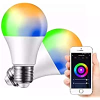 Foco inteligente LED - Luz blanca y de colores regulable - 10W E26 E27 RGBW WiFi - Funciona con Alexa y Google Home - Compatible con Android y IOS - No requiere concentrador - Contiene 1 Foco