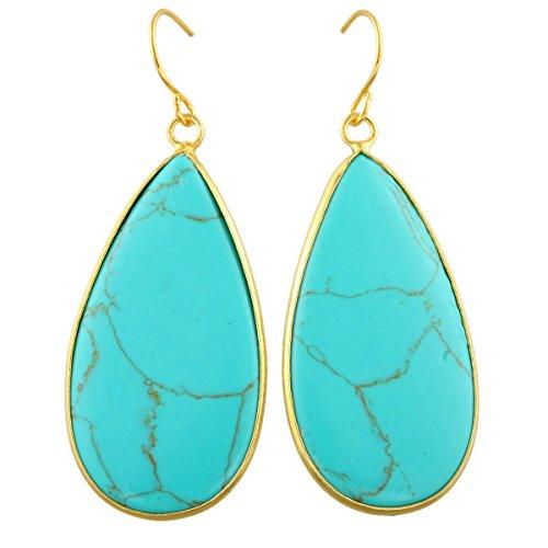 rockcloud Crystal Stone Dangle Hook Earrings Rhombus/Teardrop Gold ()