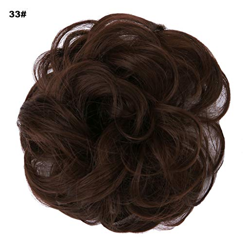 Extension Digital Hair (PrettyWit Wavy Curly Messy Hair Bun Updo Extensions Chignons Piece Wig Scrunchy Scrunchie Hairpiece Ribbon Ponytail Bridal Drawstring-Dark Auburn 33#)