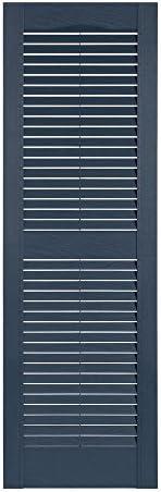 15 x 71 Bedford Blue Perfect Shutters Premier Louver Exterior Decorative Shutter