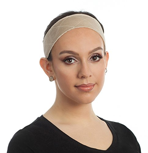 Beaugee Wig Grip Headband, Bundle with Free Comb - Adjustable Comfort Head Hair Band for Women - Velvet Material - Velcro Closure - Non Slip, Keeps Wig Secured - Prevents Headaches & Hair Loss (Beige)