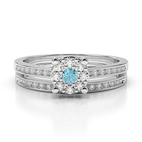 Or blanc 18carats 0,10ct G-H/VS sertie de diamants ronds Cut aigue-marine et mariée Bague de fiançailles et ensemble de Agdr-1052