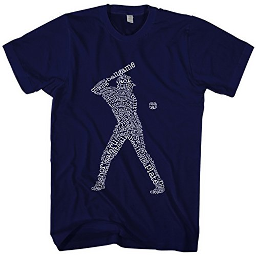 Mixtbrand Men's Baseball Player Typography T-shirt XL Navy (Slides Baseball)