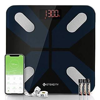 Etekcity Weight, Smart Body Fat Bluetooth Bathroom Digital Scale Tracks 13 Key Compositions, 5 Piece Set, Black