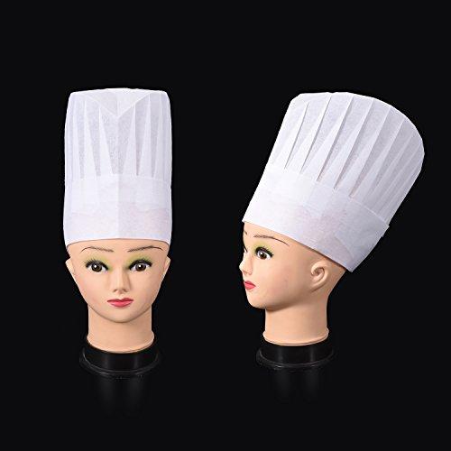 WILLBOND 12 Pack 일회용 9 인치 높은 요리사 모자 세트 주방,..