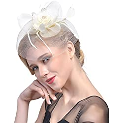 Wcysin Sinamay Fascinator Hat Cocktail Headwear for Bridal Headpiece with Veil (Beige)