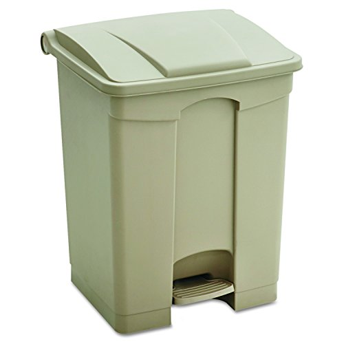 Safco Products Plastic Step-On Trash Can 9923TN, Tan, Hands-free Disposal, 23-Gallon Capacity - Garbage Cans Waste Receptacles