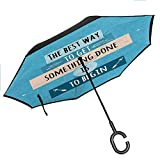 Motivational Windproof Umbrella Philosophical Life Message to Raise Faith in Yourself and Your Strength Double Layer Canopy, 42.5'x31.5'Inch Blue Peach Black