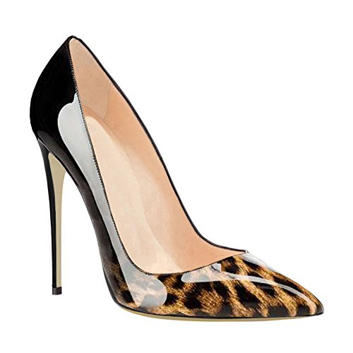 Minivog Femmes Bout Pointu Pompes Stiletto Talons Hauts Robe En Cuir Chaussures Leopardblack