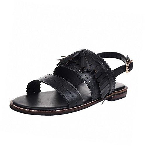 Amoonyfashion Vrouwen Gesp Open Teen Lage Hakken Lederen Handgemaakte Stevige Sandalen Zwart
