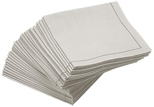 Signature Napkins White 1/4 Fold 100% Cotton Luxury Cocktail Napkins, 30-Pack
