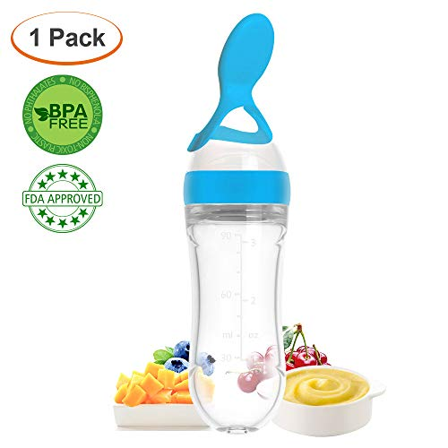 Lyonice Silicone Squeeze Bottle Spoon - Baby Feeding Cereal, Rice, Juice, Infant Newborn Toddler Baby Food Dispensing Spoon- 90ml Blue