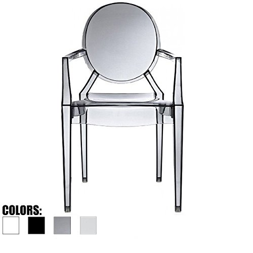 Louis Philippe Dining Room - 2xhome Smoke - Modern Contemporary Louis XIV Dining Chair Armchair Ghost Style Ghost Chair with Arms Ghost Arm Chair in Smoke Transparent Stackable Stacking Made From Polycarbonate