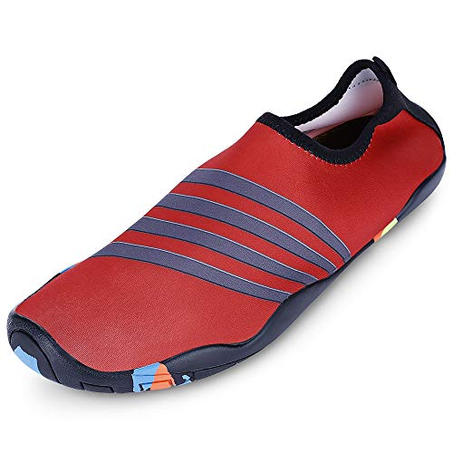 KCatsy Outdoor Round Toe Quick-Dry Non-Slip Breathable Flat Heel Beach Men Water Shoes Red