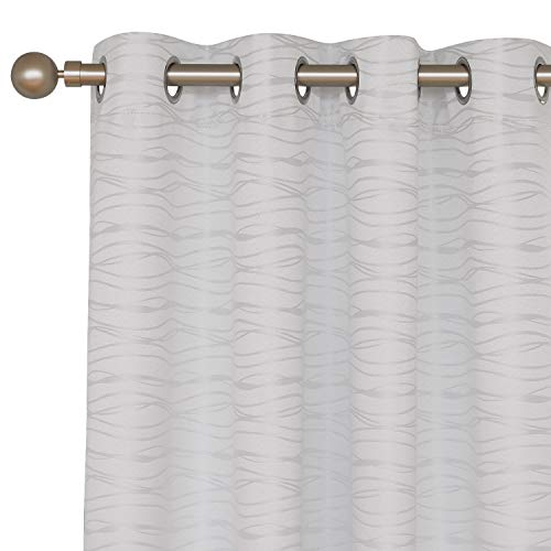 Deconovo Total Blackout Curtians with Triple-Pass White Coating Back Layer Grommet Top Thermal Insulated Jacquard Curtains for Living Room White 2 Panels 52 X 84 Inch
