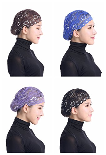 Scarf Abaya (Ksweet 4pcs Shiny Lace Head Cover Stretch Head Cap Bonnet Women Underscarf (Coffee-Blue-Purple-Black))
