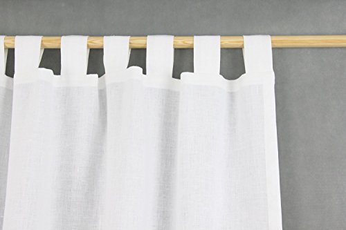 Tab Top Linen Curtain Panel / WHITE / homey style / linen drapes