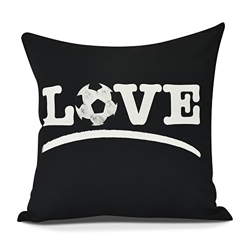 E by design O5PW870BK4-18 Love Soccer Decorative Word Throw Outdoor Pillow, 18'', Black by E by design