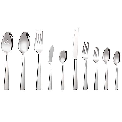 Minetom 45-Piece Stainless Steel Flatware Set with Suqare Edge, Multipurpose Use for Kitchen, Restaurant Tableware Utensil Sets with Gift Box, Service for 8