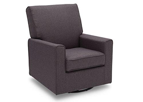 Delta Furniture Eva Upholstered Glider Swivel Rocker Chair, Charcoal