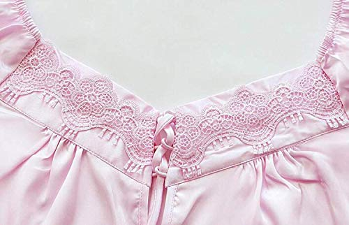 Cuello Camison Bandage Camisón Manga Lazo De Con Mujer Casuales Larga Pink Sólido Señora Anchas O Vestido Color Ropa Dormir FwTxqta