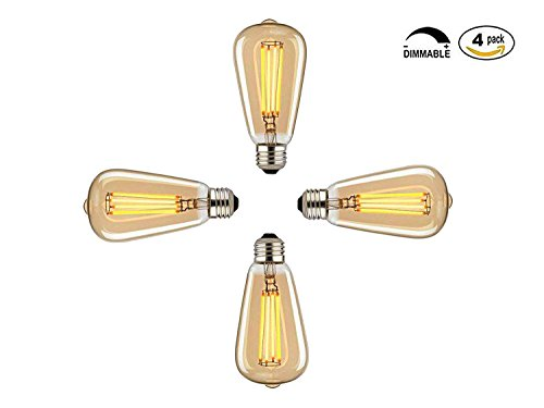 Pack of 4 - Vintage Edison Bulbs, 60w Dimmable Industrial Pendant Filament Light Bulbs with Vintage Antique Style Design for Pendant Lighting, Wall Sconces, Ceiling Fan and Chandeliers