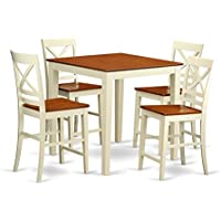 East West Furniture VNQU5-WHI-W Counter Height Dining Table and 4 Bar Stools Set