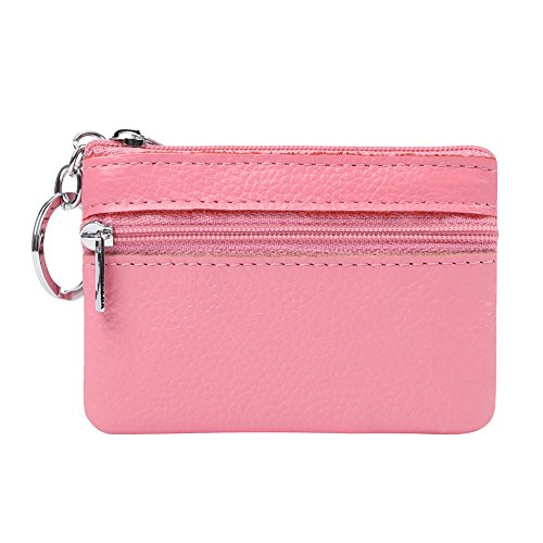ALALEI Womens Small Cute Genuine Leather Wallet,Soft Mini Coin Purse with Key Ring Chain