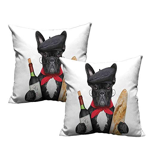Bulldog Pillowcase French Dog in a Hat with Red Wine and Baguette Bread Gourmet Parisienne Animal Resists Stains, Wrinkles 14