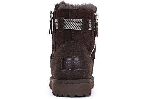 OZZEG Fermeture à glissière féminin conçu chaussures d'hiver neige bottes en cuir (39.5, Café)
