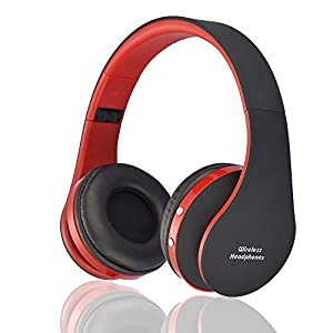 BGVIP New Over Ear Bluetooth Headset Wireless Hi-Fi Stereo Surround Sound with Built-in Mic and Wired Mode for PC/ Cell Phone/ TV (Black-red)