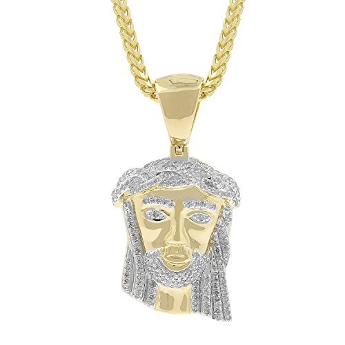 0.61ct Diamond Jesus Face Religious Mens Hip Hop Pendant in Yellow Gold Over 925 Silver (I-J, I1-I2) by Isha Luxe-Hip Hop Bling