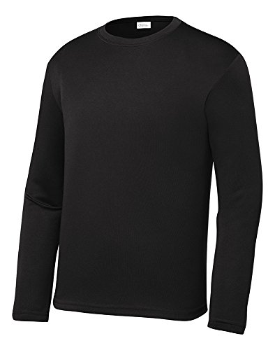 OPNA Youth Athletic Performance Long Sleeve Shirts for Boy's or Girl's - Moisture Wicking, Small, Black
