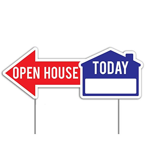 (VictoryStore Realtor Yard Sign - Open House Directional Yard Signs - Two Sided - Two Stakes Per Sign - 22
