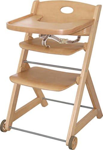 Hochstuhl Baby Holz, CRAVOG Extragroßer Mitwachsender Treppenhochstuhl mit Abnehmbarem Tisch, Natur 80x50x56cm