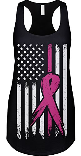 Blittzen Womens Tank Breast Cancer Flag, L, Black