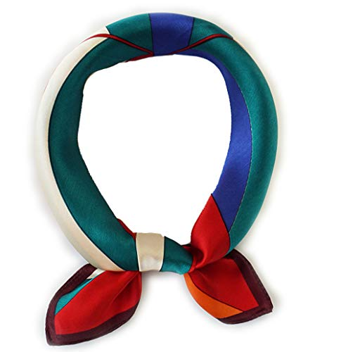 - 100% Pure Mulberry Silk Small Square Scarf -21'' x 21''- Breathable Lightweight Neckerchief -Digital Printed Headscarf (Assorted Colors)