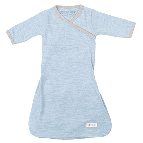 2009 Toddler Seat - Cocooi Merino Baby Sleep Bag, Sky/Light Grey, For Newborn Babies