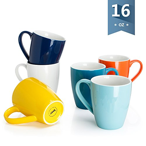 Sweese 6202 Porcelain Mugs - 16 Ounce for Coffee, Tea, Cocoa, Set of 6, Hot Assorted Colors