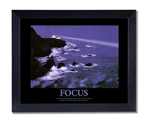 Solid Wood Black Framed FOCUS Motivational Ocean Lighthouse Pictures Art Print