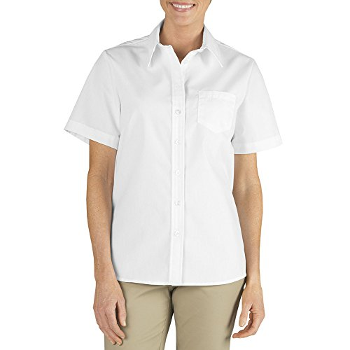 Dickies Women's Short Sleeve Stretch Poplin Shirt, White, - Poplin Resist Wrinkle Shirt